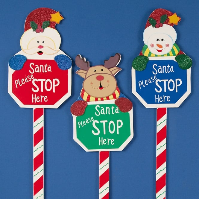 Christmas Shop Santa please stop here sign