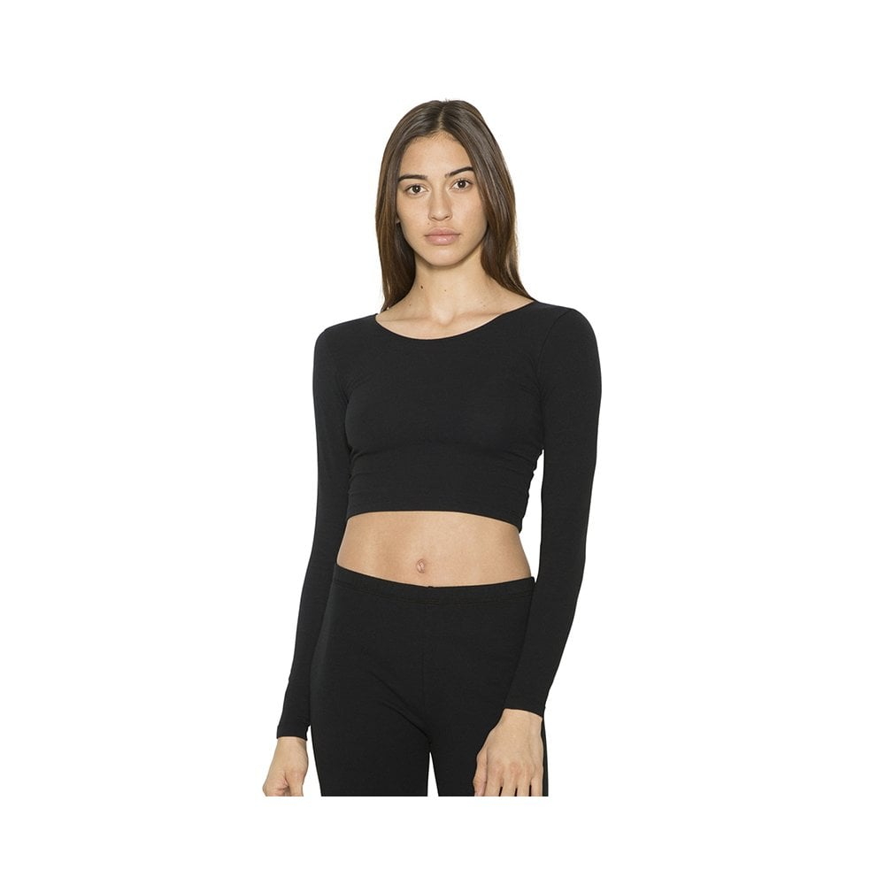 ef603cb8a0d53 American Apparel Long sleeve cotton Spandex jersey crop top (8379 ...