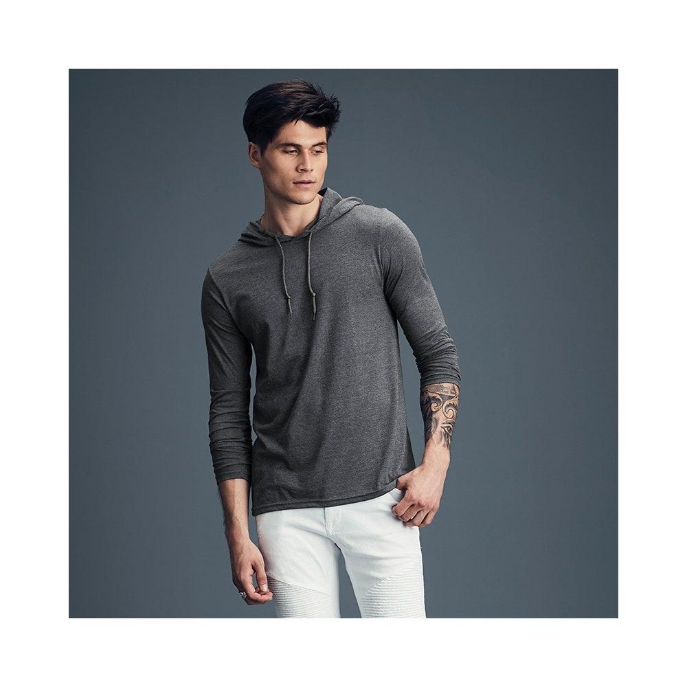 0777301e adult fashion basic long sleeve hooded tee