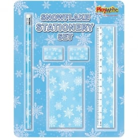 5 piece carded snowflake stationery set
