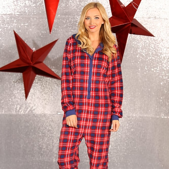 Christmas Shop Adult tartan all-in-one