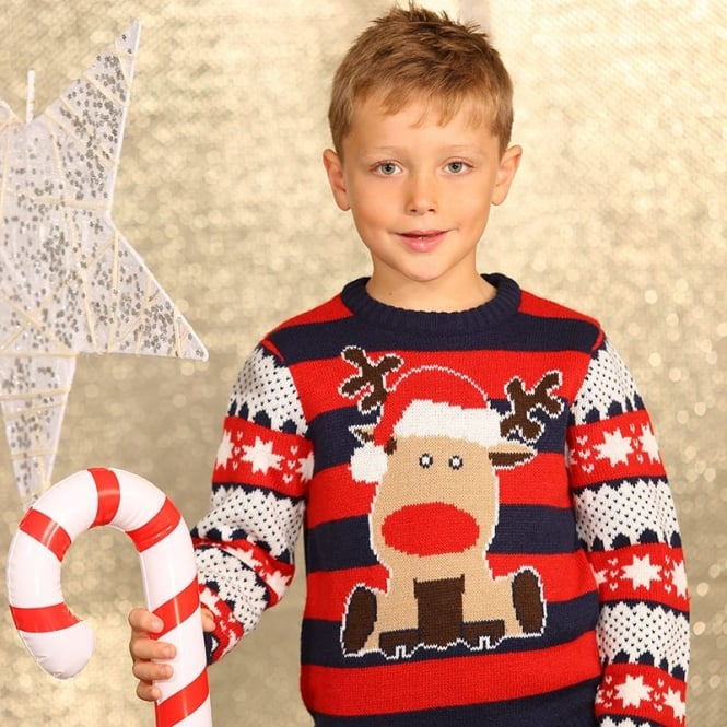Christmas Shop Boys reindeer stripe knitted jumper