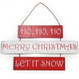Ho ho ho/Merry Christmas/Let it snow triple hanging sign