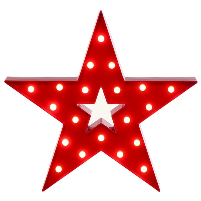 Christmas Shop Red battery operated lit star
