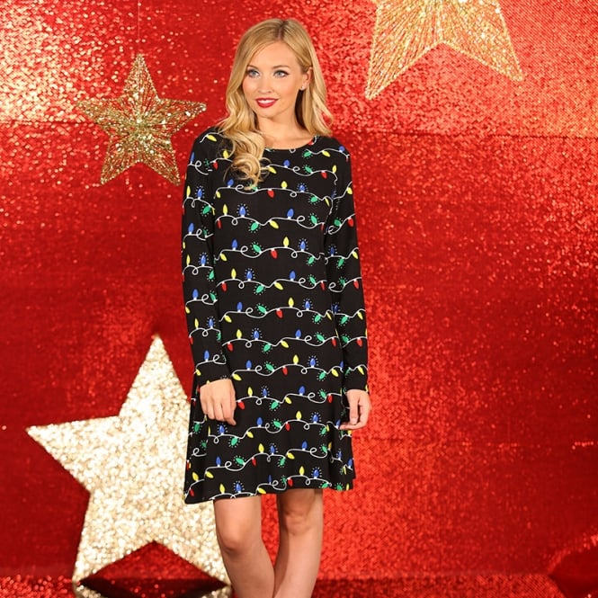 Christmas Shop Skater dress with fairy light print