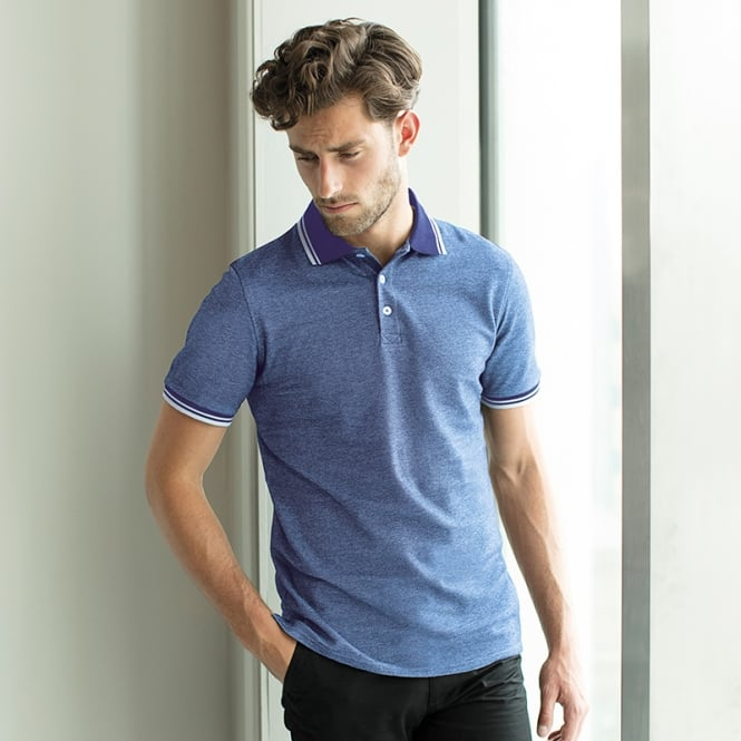 Henbury Two-tone piqué tipped polo