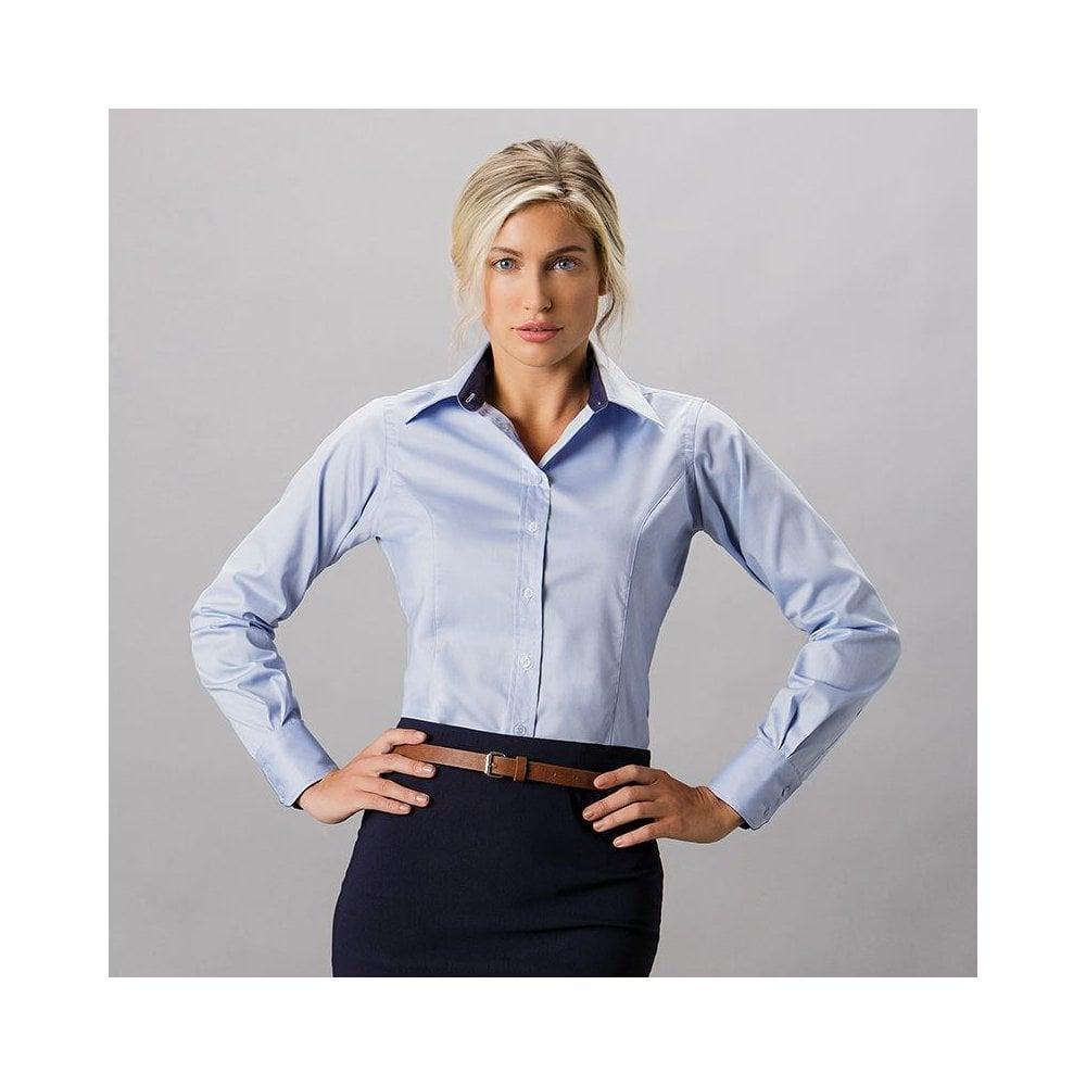 b6962e731d5 Kustom Kit Women s contrast premium Oxford shirt long sleeve KK789 ...